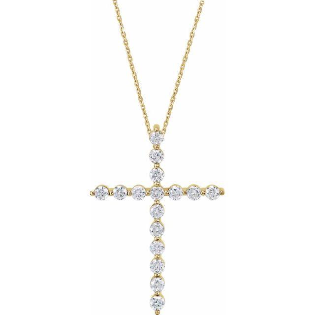 14K Yellow 1/4 CTW Diamond Cross 18