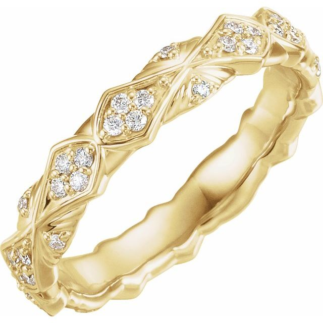 14K Yellow 1/3 CTW Diamond Sculptural-Inspired Eternity Band Size 5