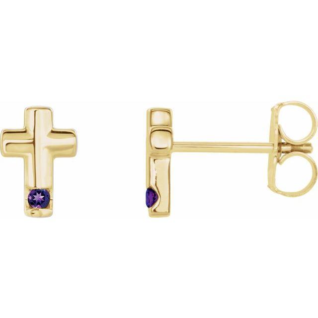 14K Yellow Amethyst Cross Earrings
