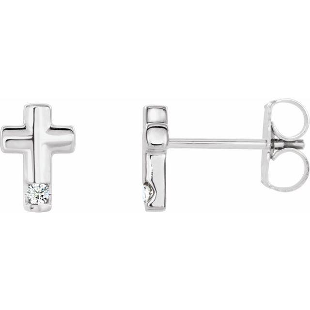 Sterling Silver .03 CTW Diamond Cross Earrings