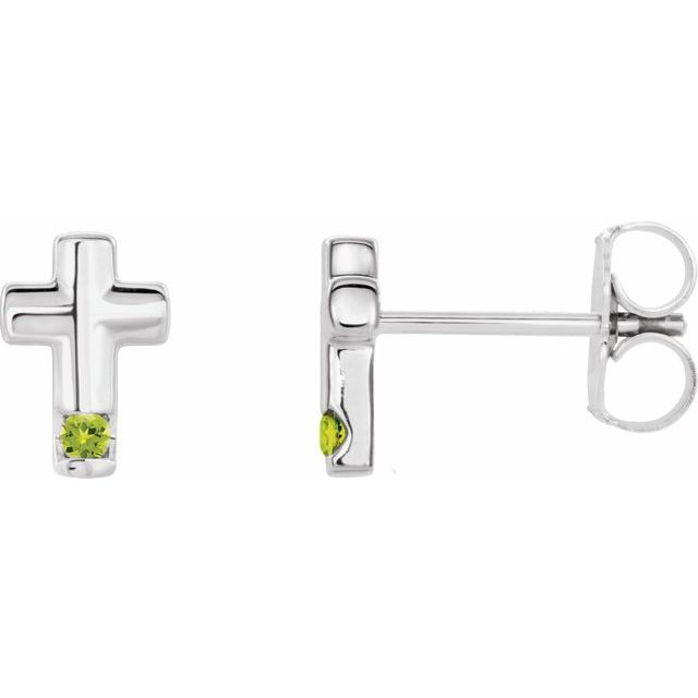 14K White Peridot Cross Earrings
