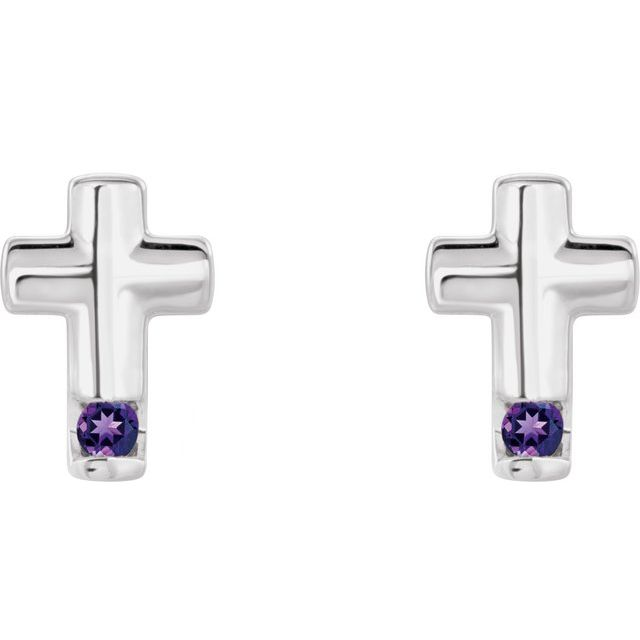 Sterling Silver Amethyst Cross Earrings