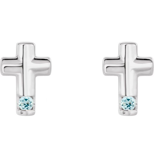 14K White Aquamarine Cross Earrings
