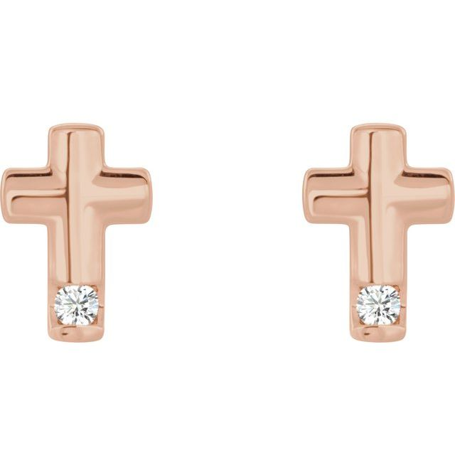 14K Rose .03 CTW Diamond Cross Earrings