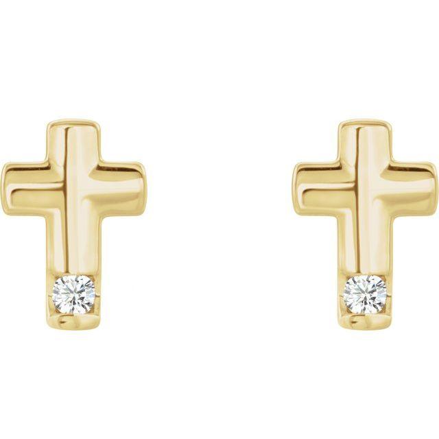 14K Yellow .03 CTW Diamond Cross Earrings