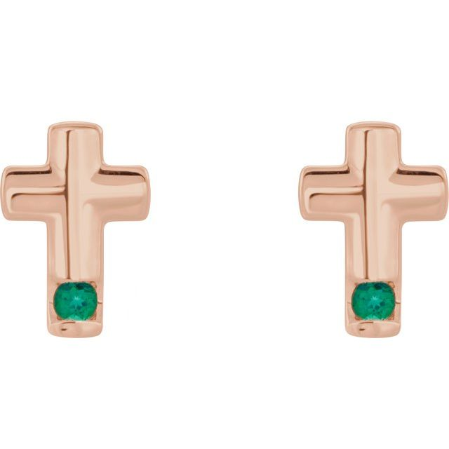 14K Rose Emerald Cross Earrings