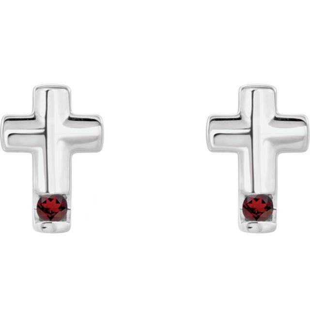 14K White Mozambique Garnet Cross Earrings