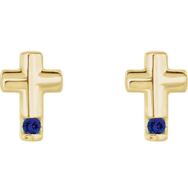 14K Yellow Blue Sapphire Cross Earrings