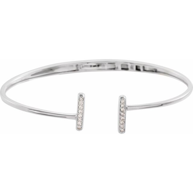 14K White 1/6 CTW Diamond Bar Hinged Cuff Bracelet