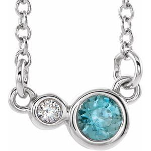 "Sterling Silver Blue Zircon & .03 CTW Diamond 18"" Necklace"