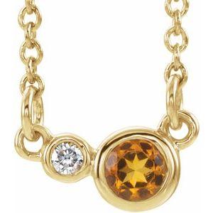 """14K Yellow Citrine & .02 CTW Diamond 16"""" Necklace"""