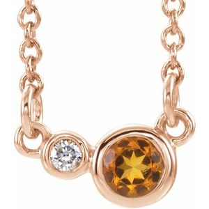 "14K Rose Citrine & .06 CTW Diamond 18"" Necklace"
