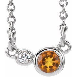 "Sterling Silver Citrine & .02 CTW Diamond 18"" Necklace"