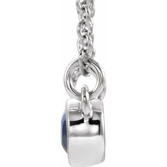 14K White Blue Sapphire & .02 CTW Diamond 18