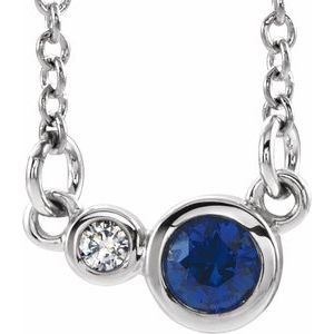 "14K White Blue Sapphire & .02 CTW Diamond 16"" Necklace"