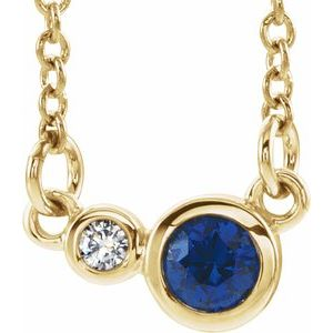 "14K Yellow Blue Sapphire & .02 CTW Diamond 18"" Necklace"