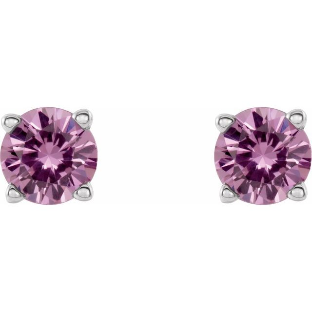 14K White 4 mm Round Pink Sapphire Earrings