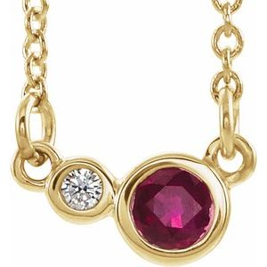 "14K Yellow Ruby & .02 CTW Diamond 18"" Necklace"