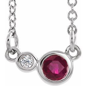 "14K White Ruby & .02 CTW Diamond 18"" Necklace"