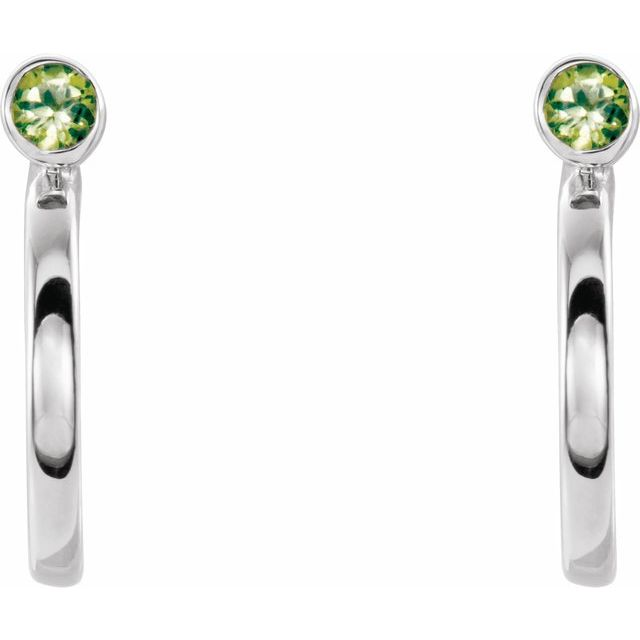 14K White 2 mm Round Peridot Bezel-Set Hoop Earrings