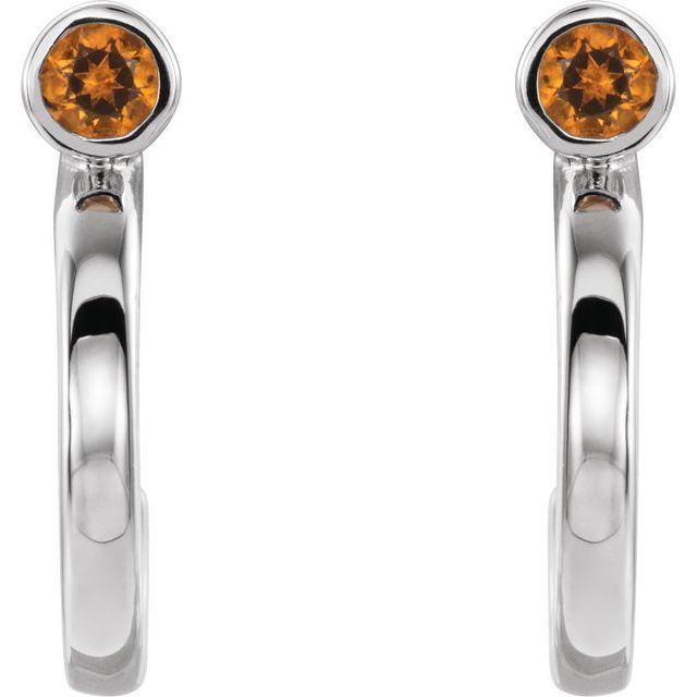 14K White 2 mm Round Citrine Bezel-Set Hoop Earrings