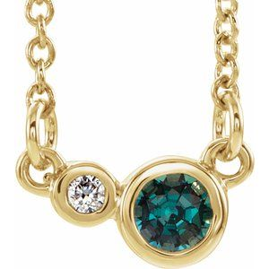 "14K Yellow Alexandrite & .02 CTW Diamond 16"" Necklace"