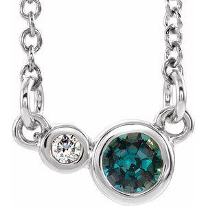 "14K White Alexandrite & .03 CTW Diamond 16"" Necklace"