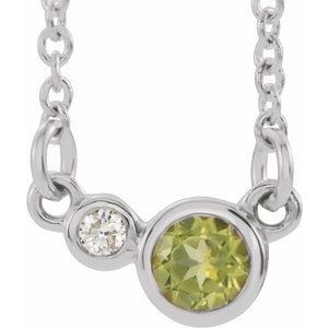 "14K White Peridot & .06 CTW Diamond 16"" Necklace"