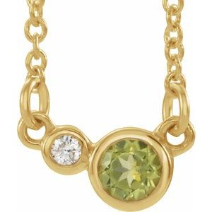 "14K Yellow Peridot & .03 CTW Diamond 16"" Necklace"