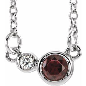 "14K White Mozambique Garnet & .02 CTW Diamond 16"" Necklace"