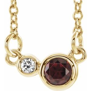 "14K Yellow Mozambique Garnet & .02 CTW Diamond 18"" Necklace"