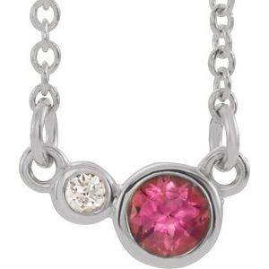 "Sterling Silver Pink Tourmaline & .03 CTW Diamond 18"" Necklace"