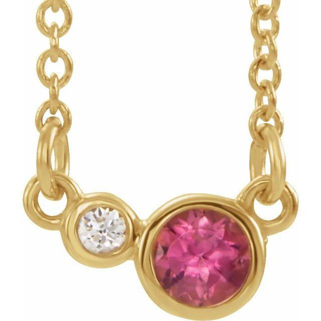 14K Yellow Pink Tourmaline & .02 CTW Diamond 18