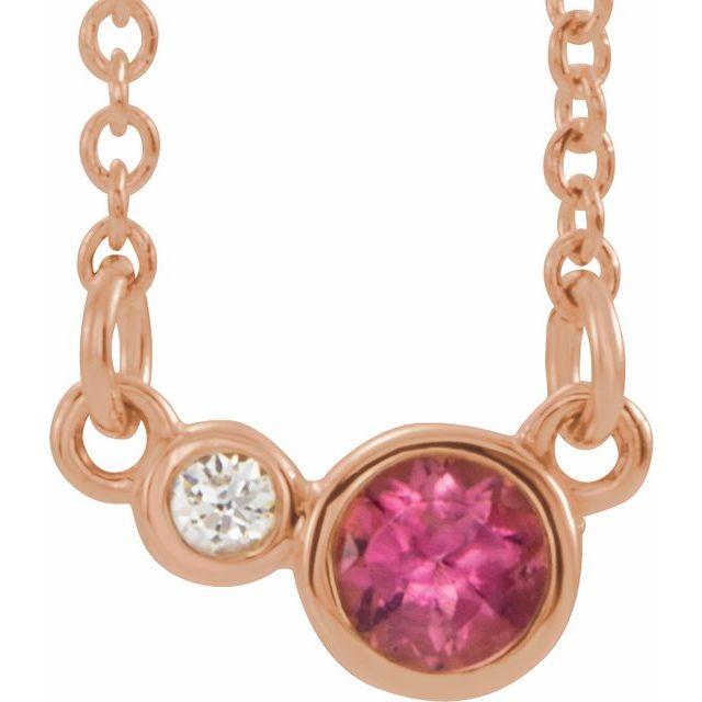 14K Rose Pink Tourmaline & .02 CTW Diamond 18