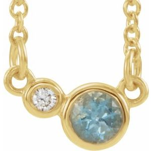 "14K Yellow Aquamarine & .03 CTW Diamond 18"" Necklace"