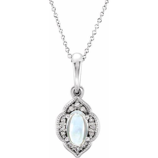 Sterling Silver Rainbow Moonstone & .03 CTW Diamond Clover 16-18