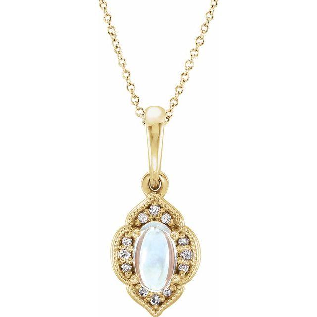 14K Yellow Rainbow Moonstone & .03 CTW Diamond Clover 16-18