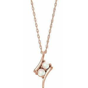 """14K Rose Opal Two-Stone 16-18"""" Necklace"""