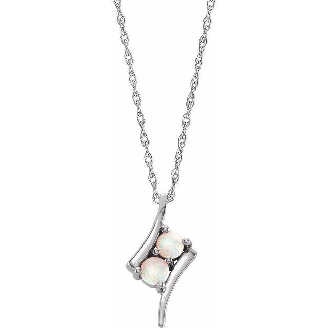 14K White Opal Two-Stone 16-18