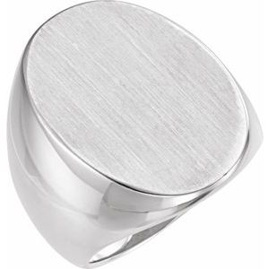 14K White 27x19 mm Oval Signet Ring