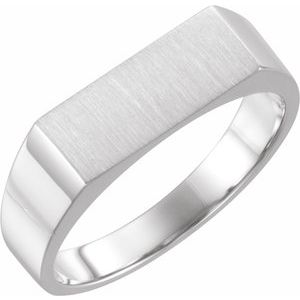 14K White 15x6 mm Rectangle Signet Ring