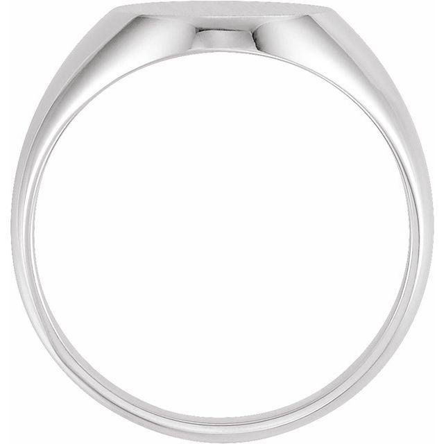 14K White 14x12 mm Oval Signet Ring