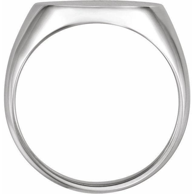 Sterling Silver 18x16 mm Oval Signet Ring