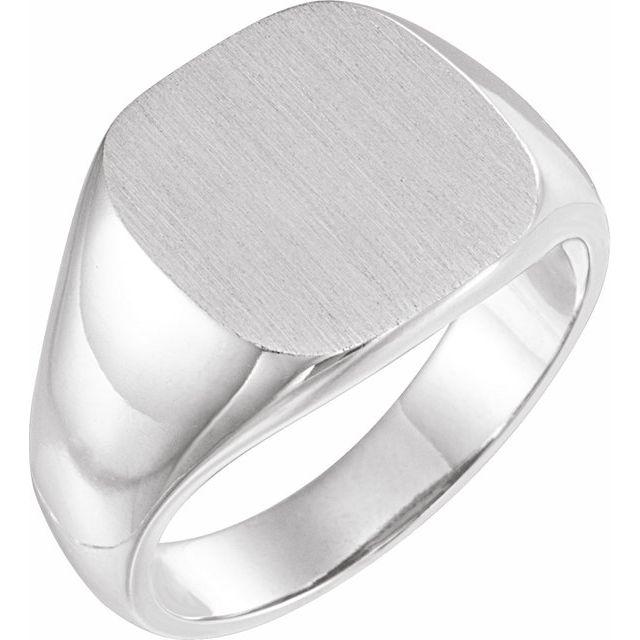14K White 14 mm Square Signet Ring