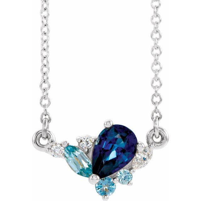 Sterling Silver Imitation Multi-Gemstone & .06 CTW Diamond 18