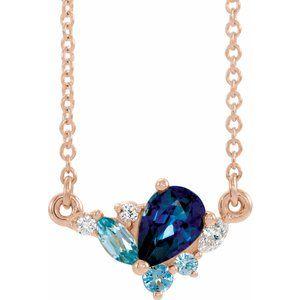 "14K Rose Multi-Gemstone & .06 CTW Diamond 18"" Necklace"