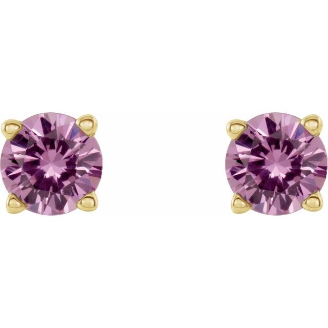 14K Yellow 4 mm Round Pink Sapphire Earrings
