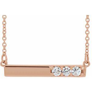 "14K Rose 1/5 CTW Diamond Bar 16-18"" Necklace"
