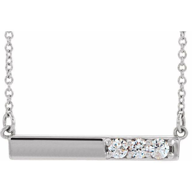 "14K White 1/5 CTW Diamond Bar 16-18"" Necklace"
