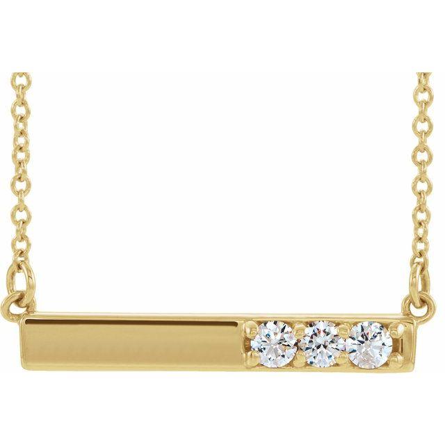 14K Yellow 1/5 CTW Diamond Bar 16-18